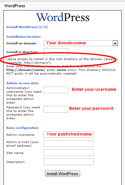 Wordpress install settings