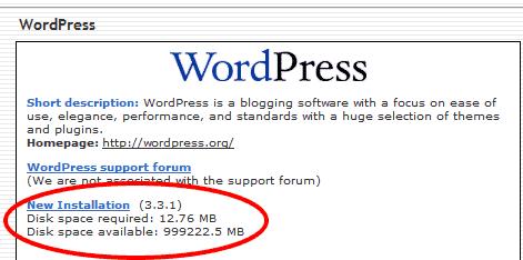 Wordpress new installation